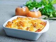 Печен бланширан карфиол със сирене, шунка, кашкавал и течна готварска сметана на фурна